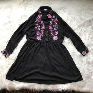 ASOS BLACK LONG SLEEVE EMBROIDERED BOHO DRESS